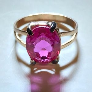 .925 Silver Ring with Created Ruby Stone
